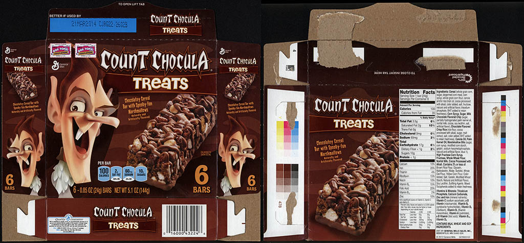 General Mills - Count Chocula Treats - chocolatey cereal bar - snack bar box - 2013
