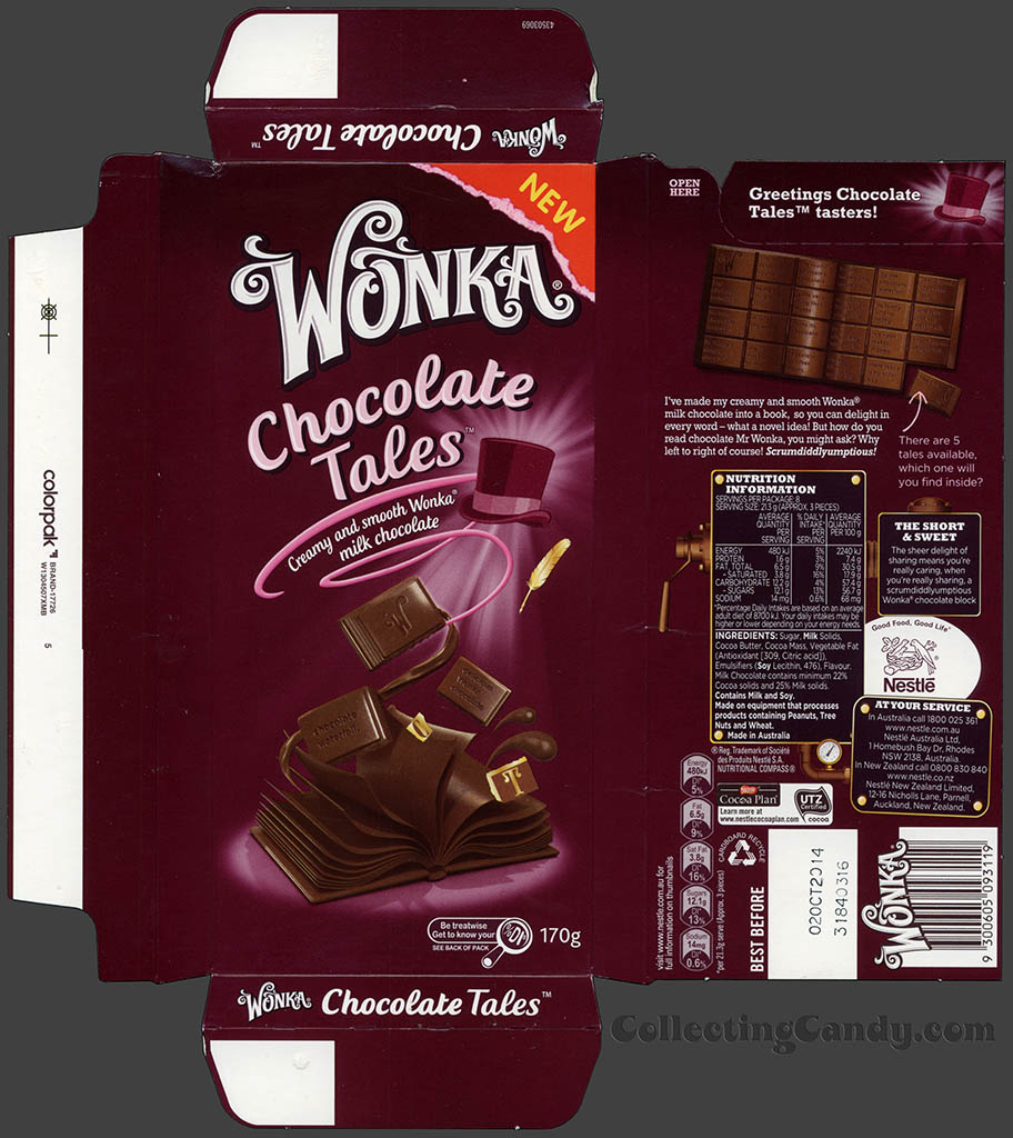 Australia-New Zealand - Nestle - Wonka Chocolate Tales - chocolate bar wrapper box - August 2013