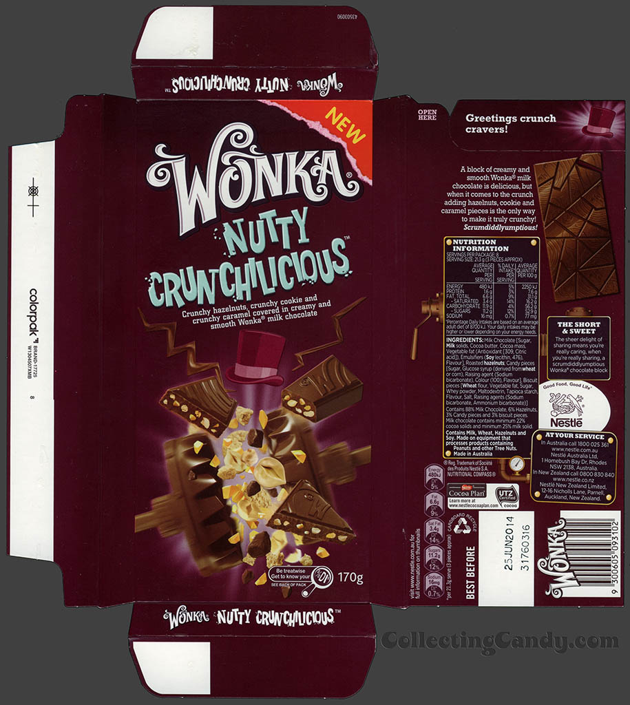 Australia-New Zealand - Nestle - Wonka Nutty Crunchilicious - chocolate bar wrapper box - August 2013