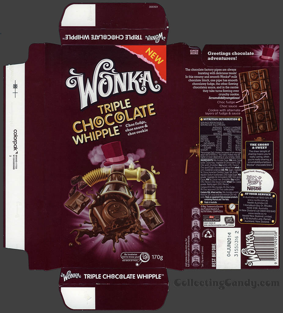 Australia-New Zealand - Nestle - Wonka Triple Chocolate Whipple - chocolate bar wrapper box - August 2013