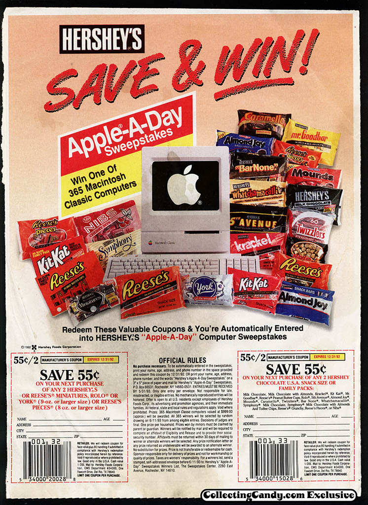 Hershey's - Apple-A-Day Sweepstakes promotional circular and coupon - 1992