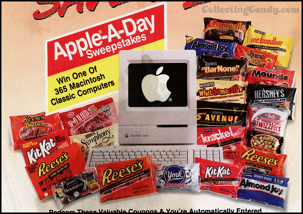Hershey's Apple-A-Day circular candy package assortment - 1992