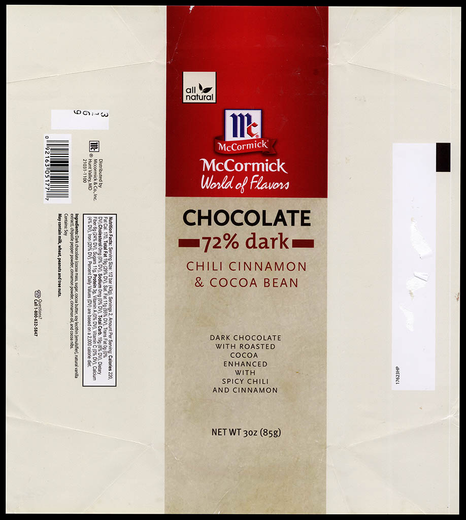 McCormick World of Flavors - Chili Cinnamon & Cocoa Bean - 72-percent dark - chocolate candy bar wrapper - 2013