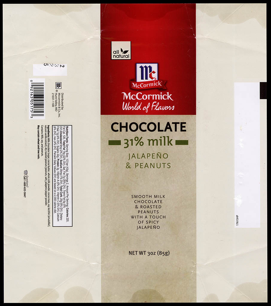 McCormick World of Flavors - Jalapeno & Peanuts - 31-percent milk - chocolate candy bar wrapper - 2013