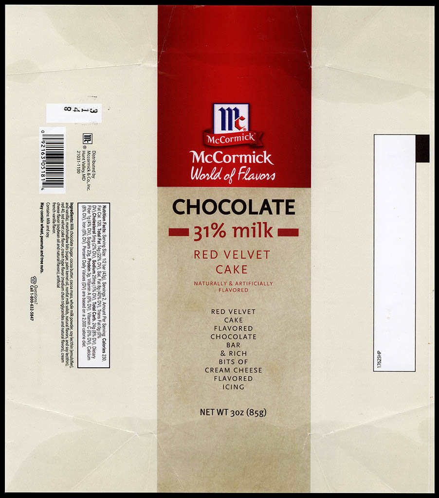 McCormick World of Flavors - Red Velvet Cake - 31-percent milk chocolate - chocolate candy bar wrapper - 2013