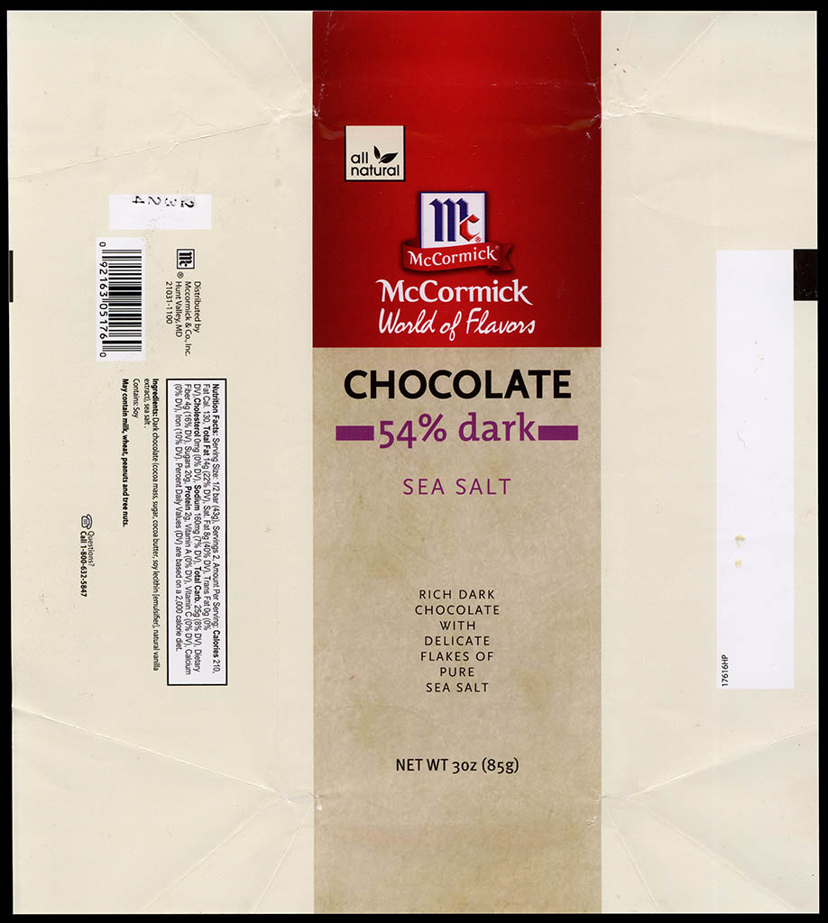 McCormick World of Flavors - Sea Salt - 54-percent dark - chocolate candy bar wrapper - 2013