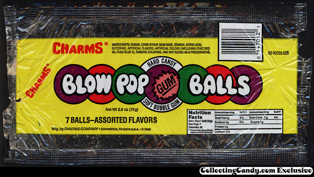 Tootsie - Charms Company - Blow Pop Gum Balls - bubblegum candy wrapper - 1990's