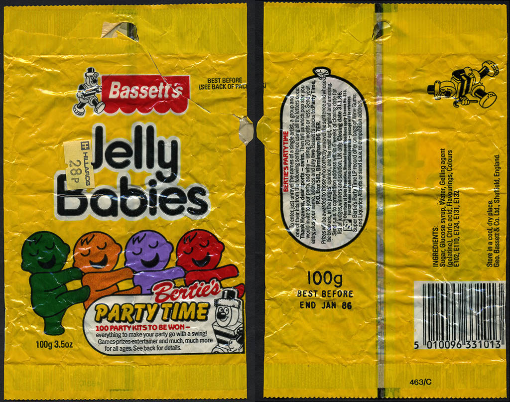 UK - Bassett's - Jelly Babies - Bertie's Party Time contest - candy bag - 1985