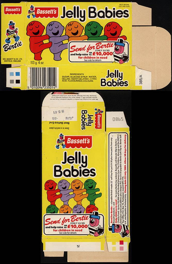 UK - Bassett's Jelly Babies - candy box - 1985