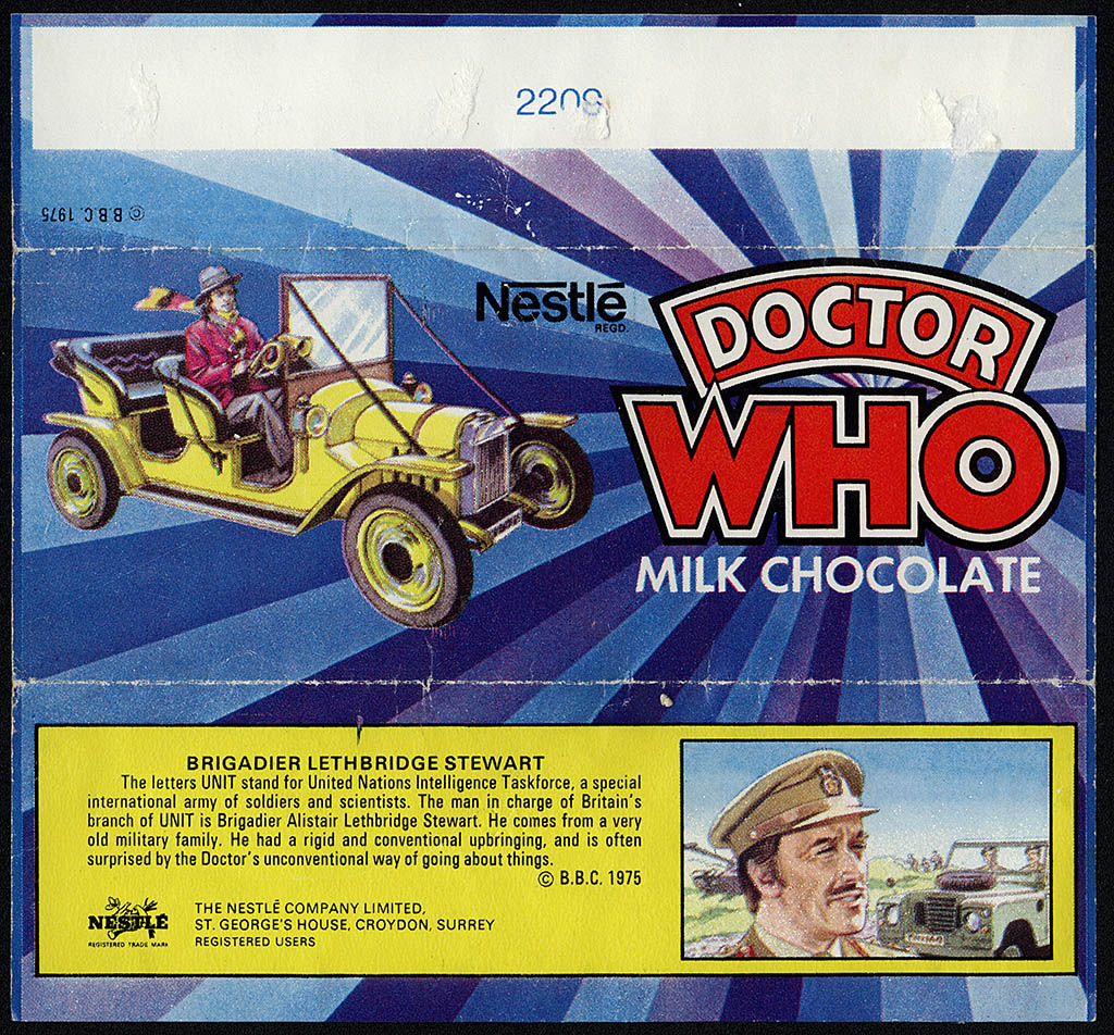 UK - Nestle - Doctor Who milk chocolate candy bar wrapper - Brigadier - 1975