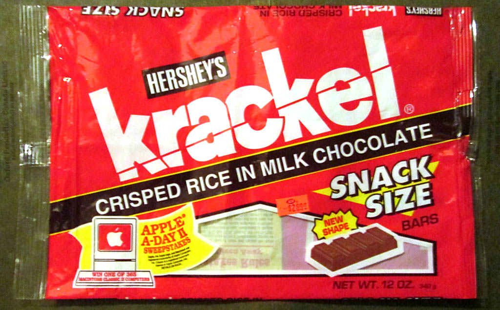 Hershey's Krackel snack size pack - Apple-A-Day II Sweepstakes - 1994 - Image courtesy Marie Dubay