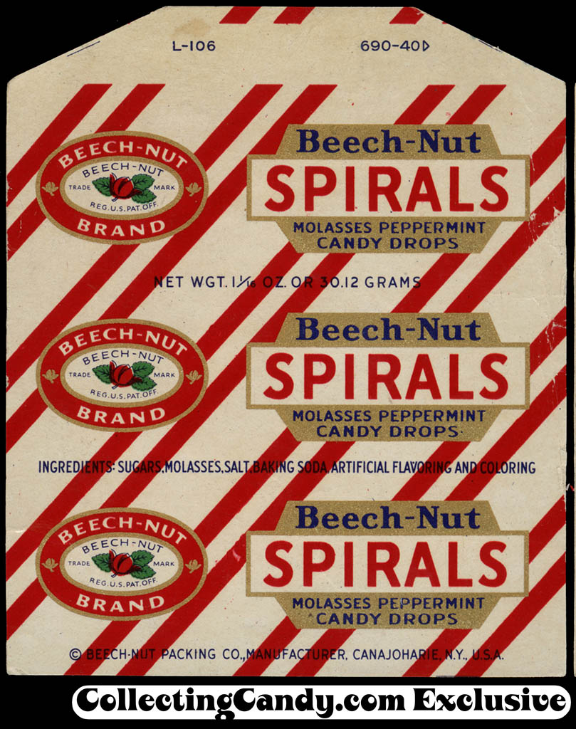 Beech-Nut - Spirals Molasses Peppermint candy drops roll wrapper - file copy - 1940