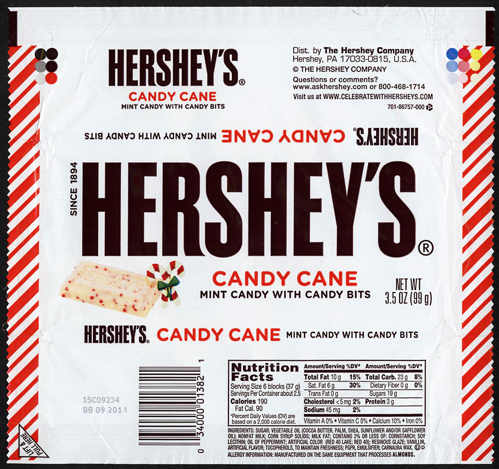 Hershey's Candy Cane peppermint white chocolate bar 3.5 oz wrapper - Christmas 2013