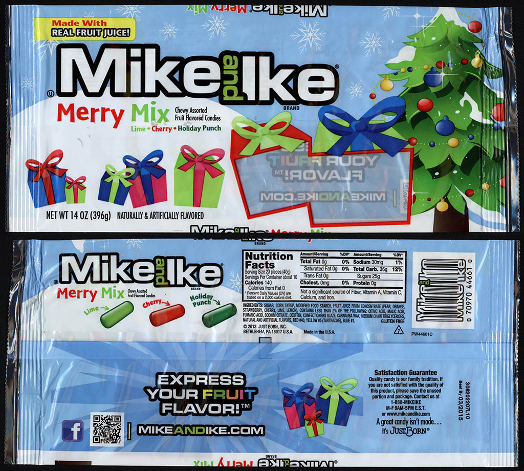 Just Born - Mike and Ike Merry Mix - 14oz Christmas candy package - November 2013