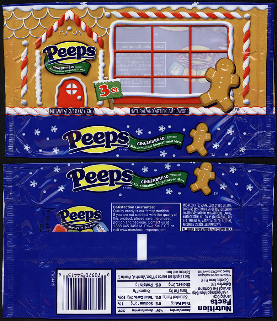 Just Born - Peeps Gingerbread flavored Marshmallow Gingerbread Men - 3-pack candy package - 2013