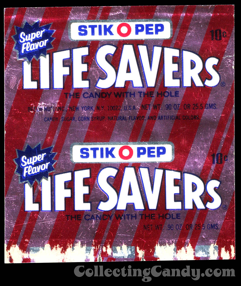 Life Savers - Stick-O-Pep - foil candy roll wrapper - 1970's