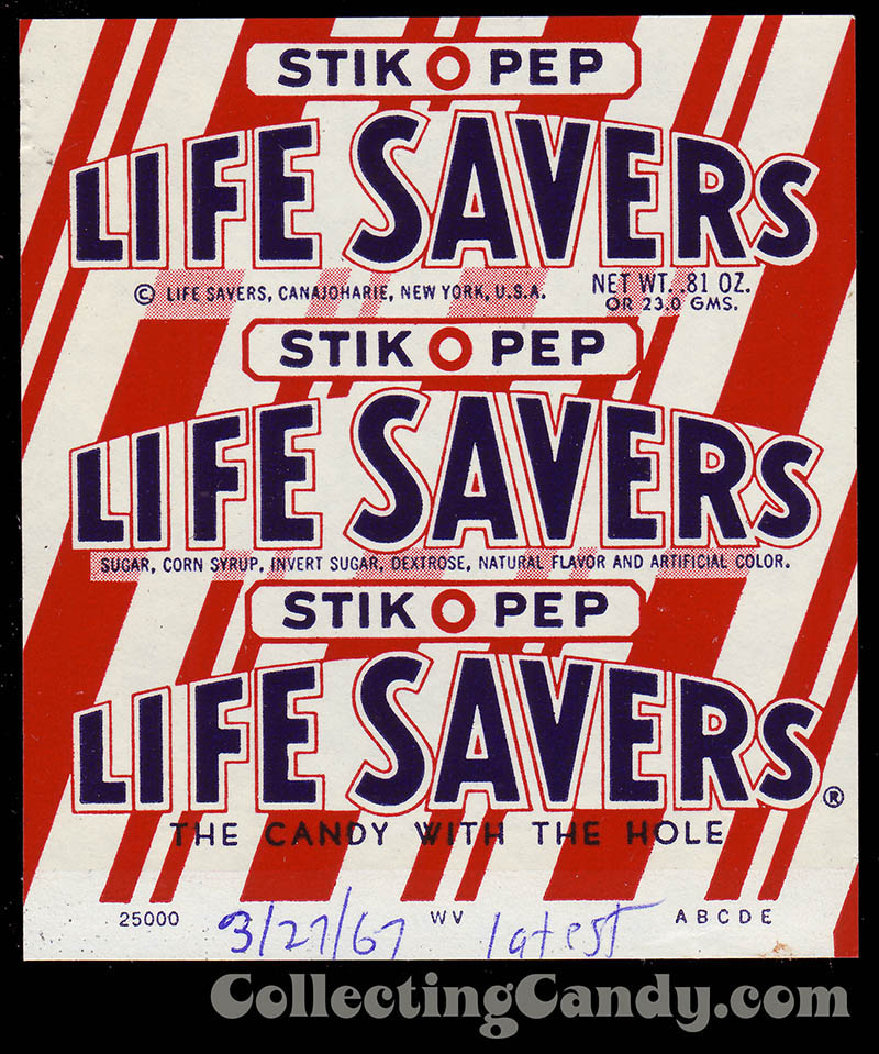 LifeSavers - Stick-O-Pep - candy roll wrapper - 1967