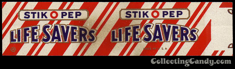LifeSavers - Stick-O-Pep - mini - candy roll warapper - late 50's early 60's