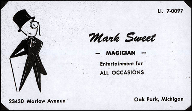 Mark Sweet Childhood Magician Business Card - 1950's-1960's