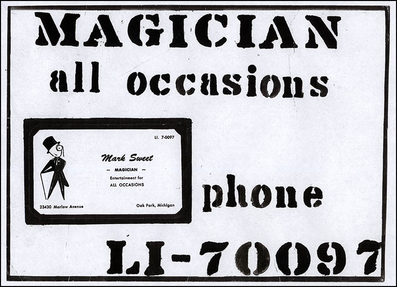 Mark Sweet Magician Advertising Sign - late 1950's