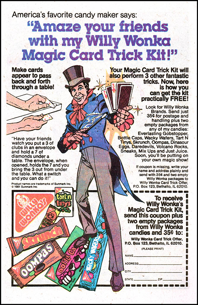 Mark Sweet illustrated as Willy Wonka in comic book ad - 1981