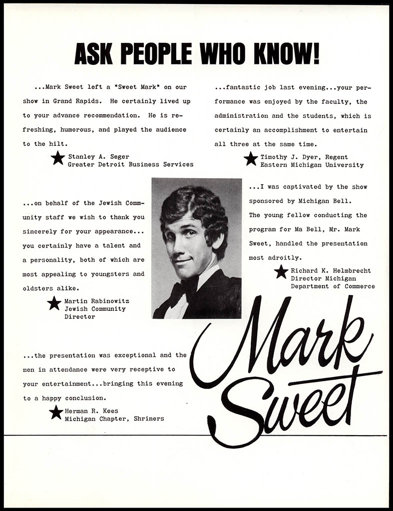 Mark Sweet pre-Wonka publicity brochure - Back Cover
