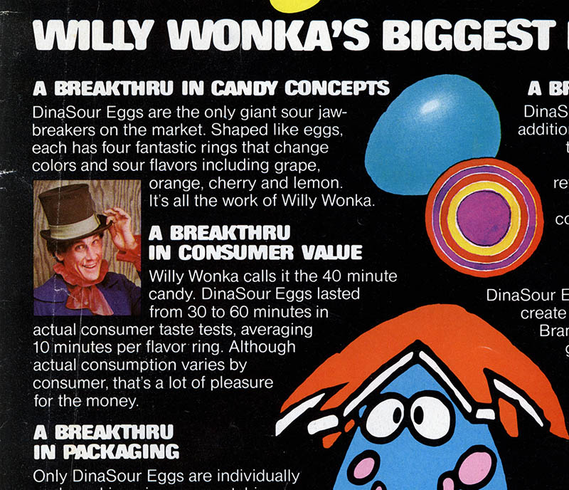 _MarkSweet_Willy Wonka DinaSour Eggs trade magazine advertisement clipping - April 1981