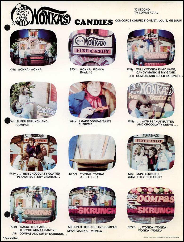 Willy Wonka's candies 30 second TV commercial layout card - circa 1977