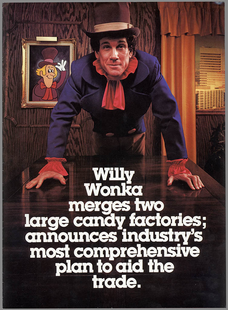 Willy Wonka Brands formation announcement brochure - featuring Mark Sweet as Willy Wonka - 1980 - Cover