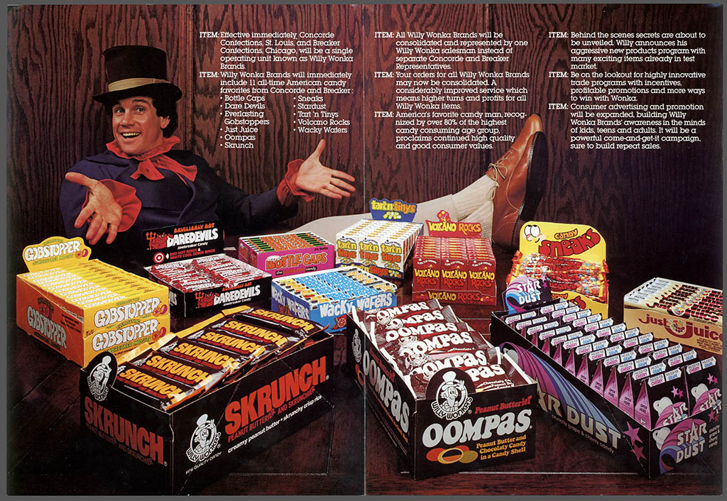 Willy Wonka Brands formation announcement brochure - featuring Mark Sweet as Willy Wonka - 1980 - center spread