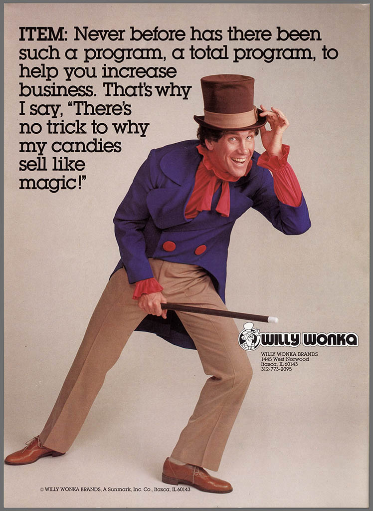 Willy Wonka Brands formation announcement brochure - featuring Mark Sweet as Willy Wonka - 1980 - back cover
