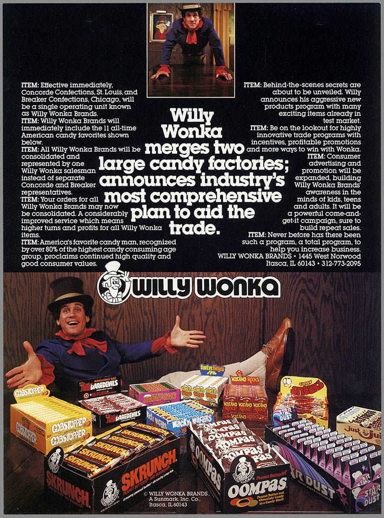 Willy Wonka Brands formation announcement brochure - featuring Mark Sweet as Willy Wonka - 1980 - flyer