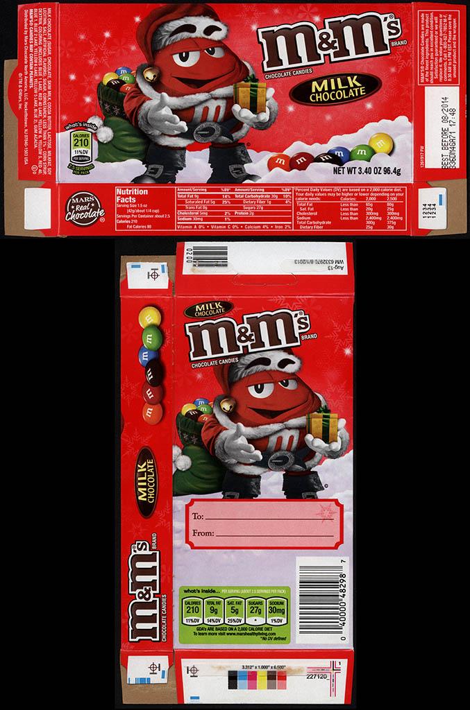 Mars - M&M's Milk Chocolate 3.4 oz Christmas holiday candy box - November 2013