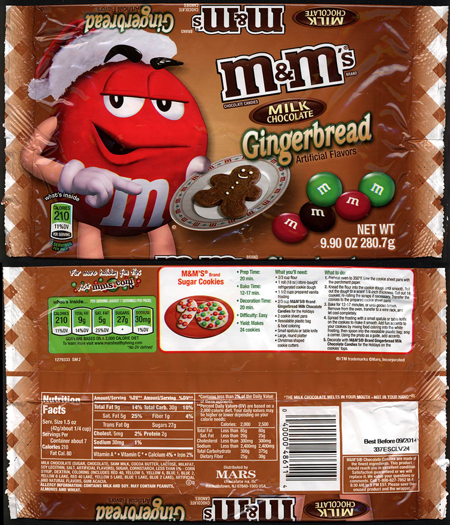 Mars - M&M's Milk Chocolate Gingerbread - 2013 Walmart-exclusive Holiday Flavor - 9.9 oz candy package - 2013