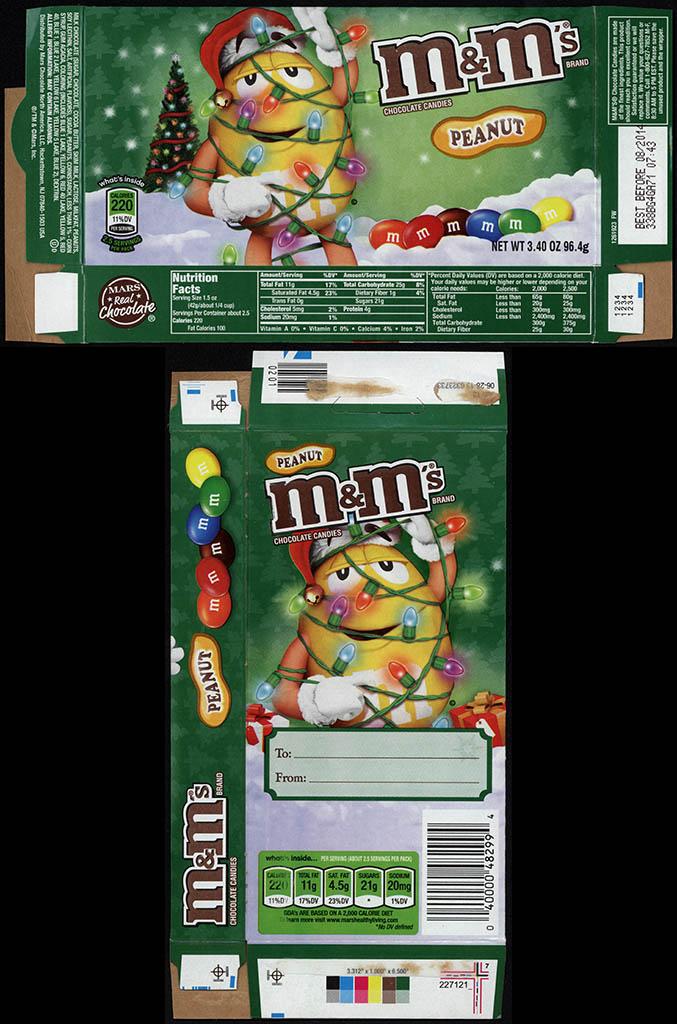 Mars - M&M's Peanut 3.4 oz Christmas holiday candy box - November 2013