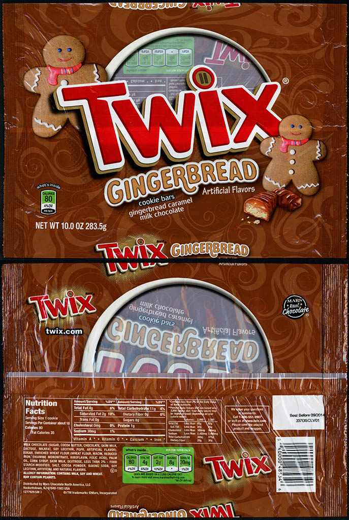 Mars - Twix Giingerbread - 10 oz chocolate bar candy package - November 2013