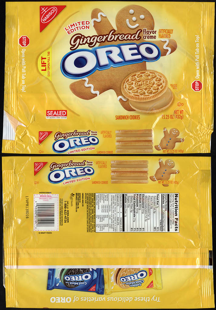 Nabisco - Oreo Gingerbread flavor limited edition cookie package - November 2012