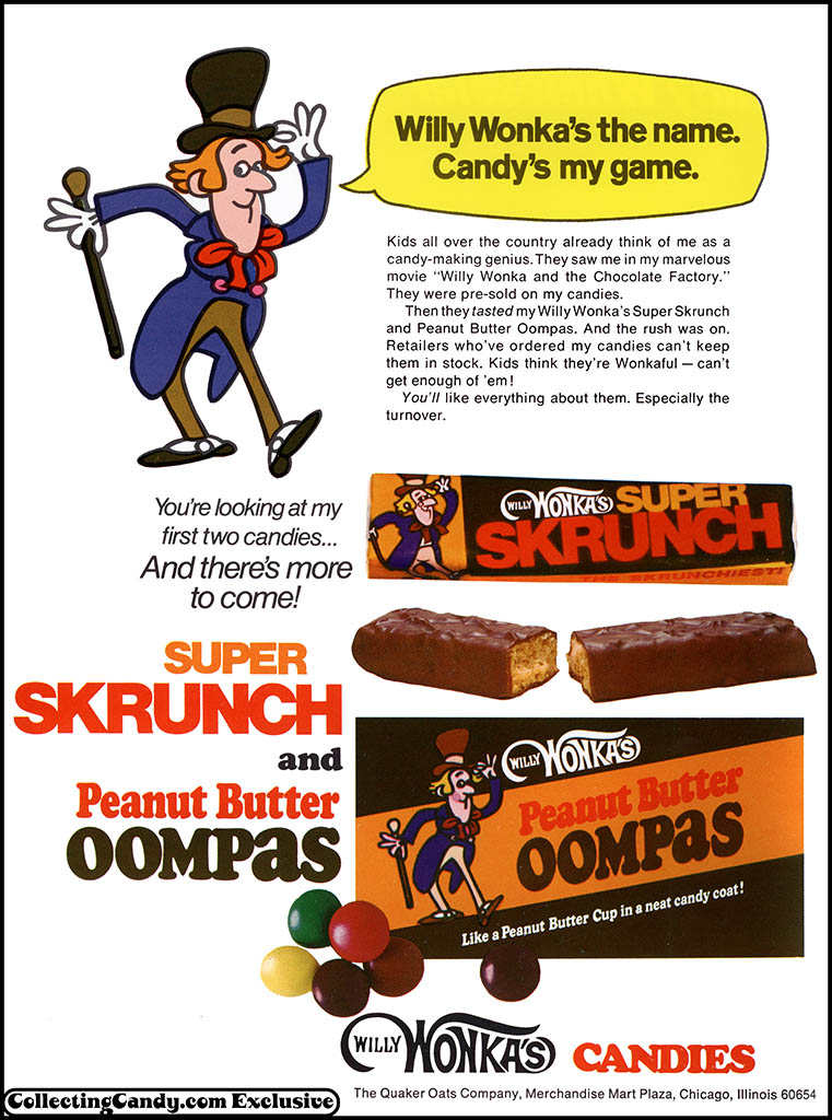 Quaker Oats - Willy Wonka's Candies - Super Skrunch and Peanut Butter Oompas - trade ad - January 1972