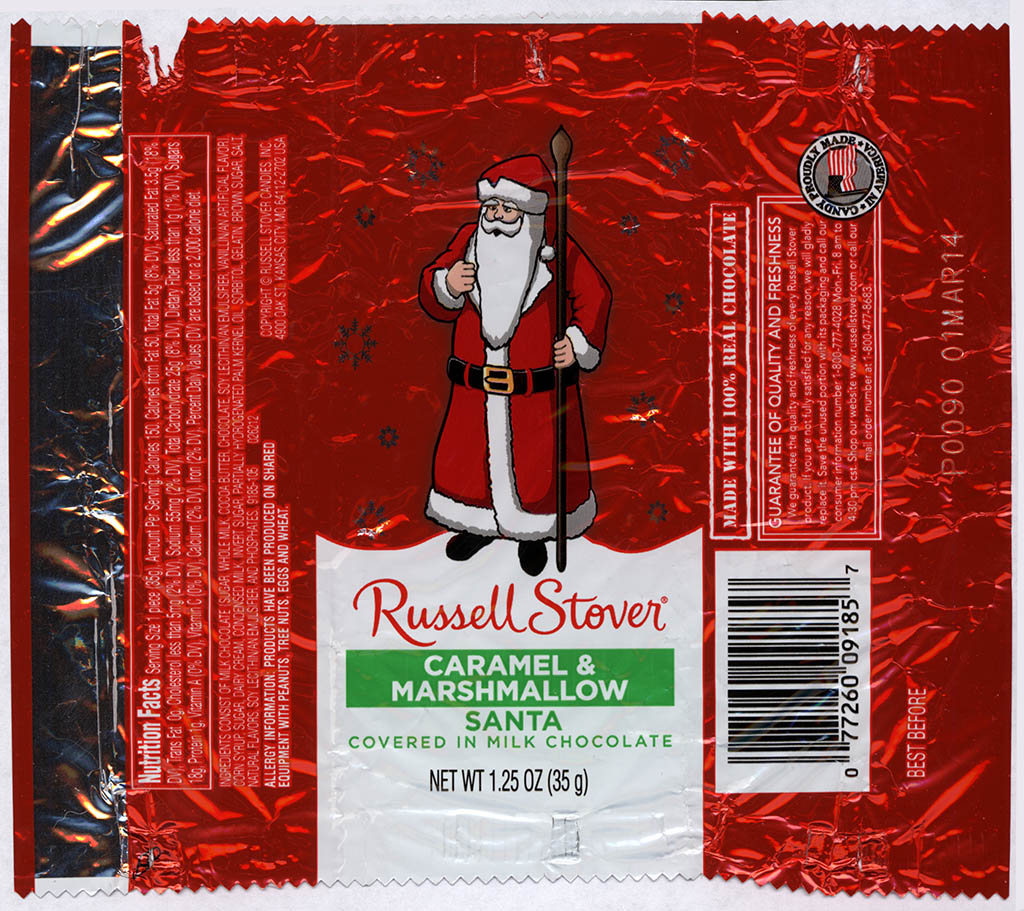 Russell Stover - Santa - Caramel & Marshmallow - foil Christmas candy wrapper - 2013