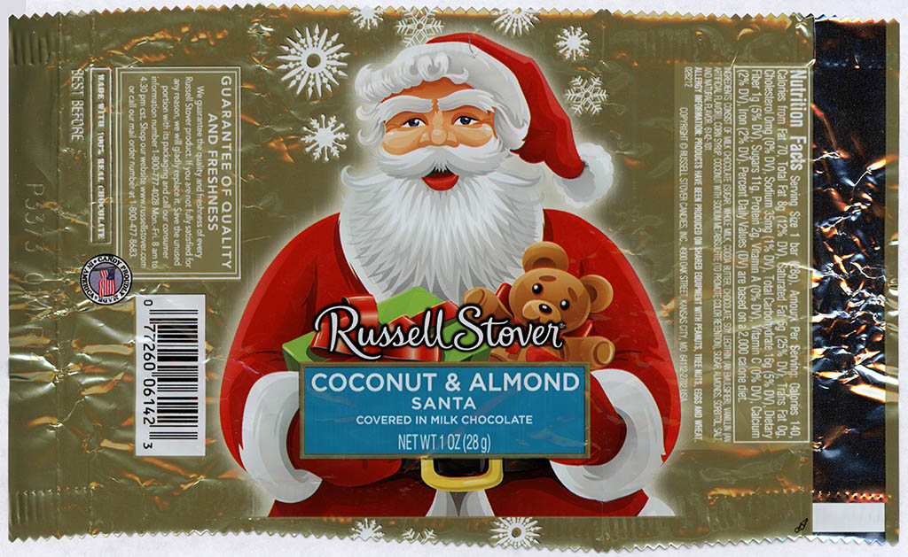 Russell Stover - Santa - Coconut & Almond - foil Christmas candy wrapper - 2013