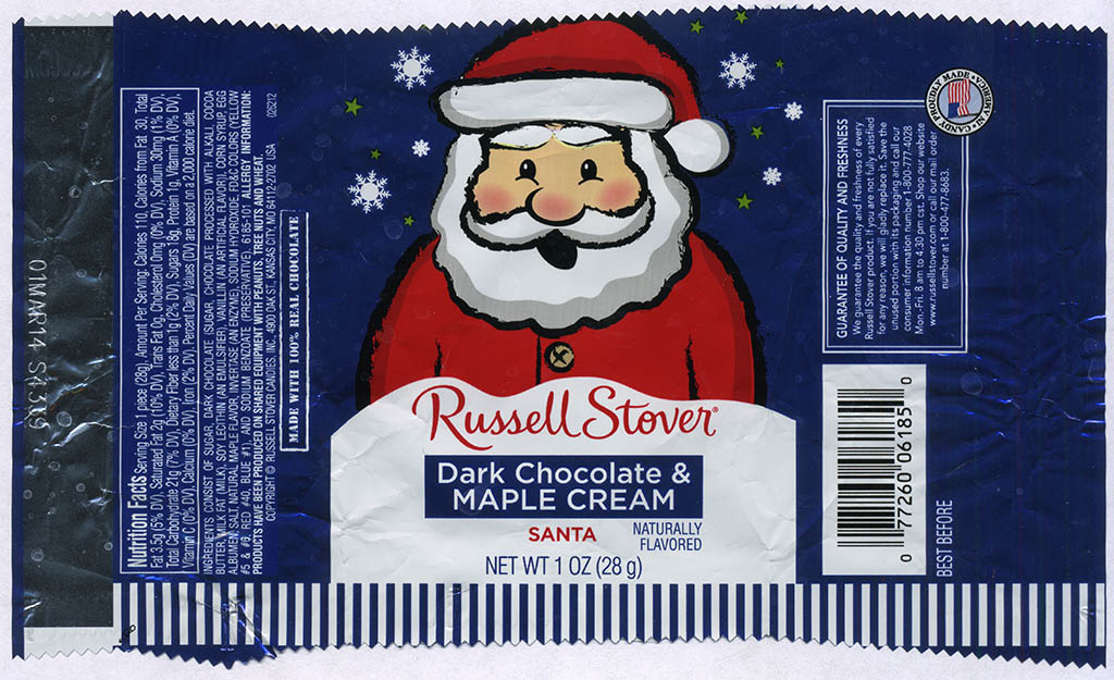 Russell Stover - Santa - Dark Chocolate Maple Cream - foil Christmas candy wrapper - 2013
