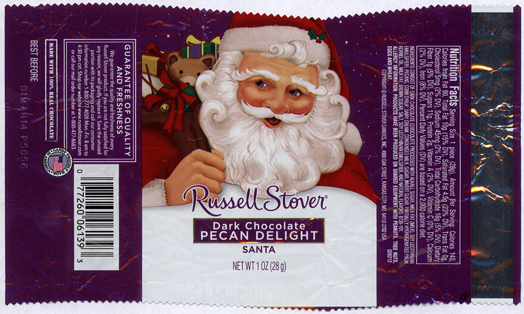 Russell Stover - Santa - Dark Chocolate Pecan Delight - foil Christmas candy wrapper - 2013