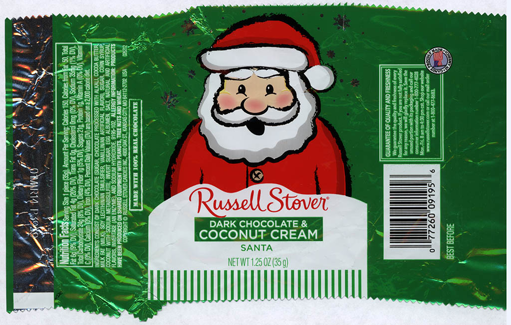 Russell Stover - Santa - Dark Chocolate and Coconut Cream - foil Christmas candy wrapper - 2013