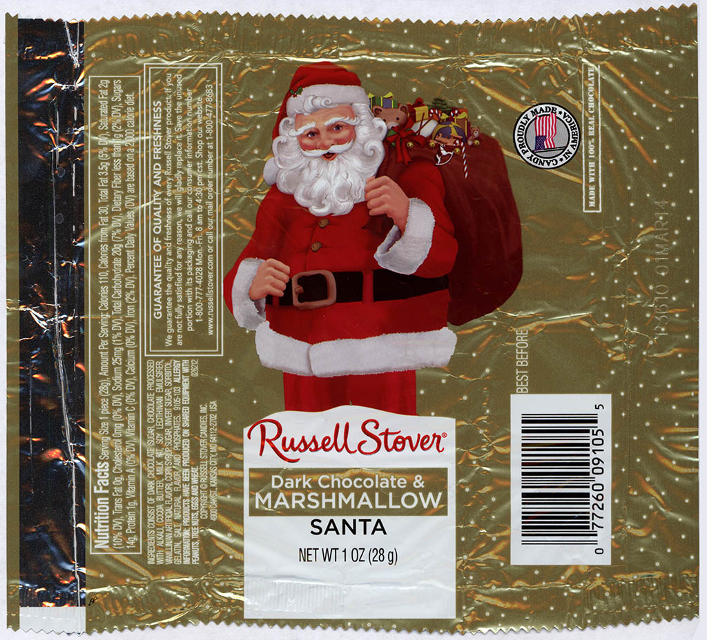 Russell Stover - Santa - Dark Chocolate and Marshmallow - foil Christmas candy wrapper - 2013