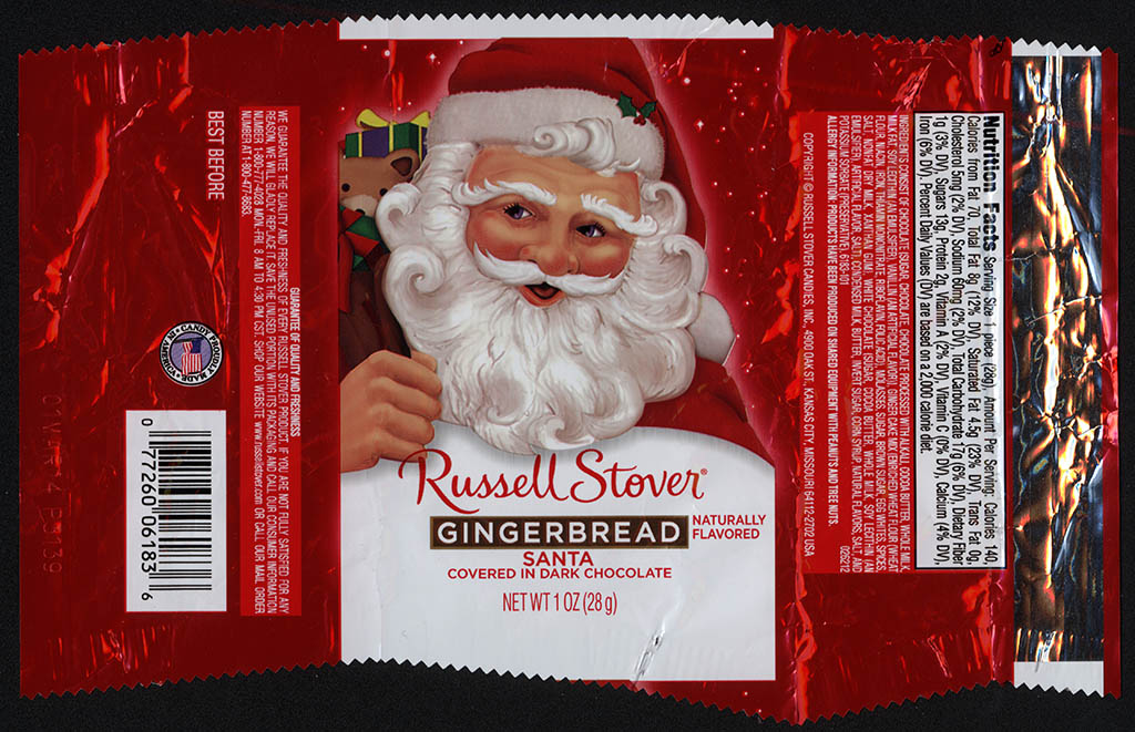 Russell Stover - Santa - Gingerbread in Dark Chocolate - foil Christmas candy wrapper - 2013