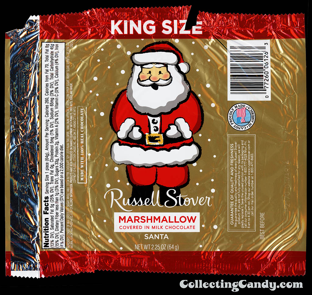 Russell Stover - Santa - Marshmallow covered in Milk Chocolate - King Size 2.25oz foil Christmas candy wrapper - December 2013