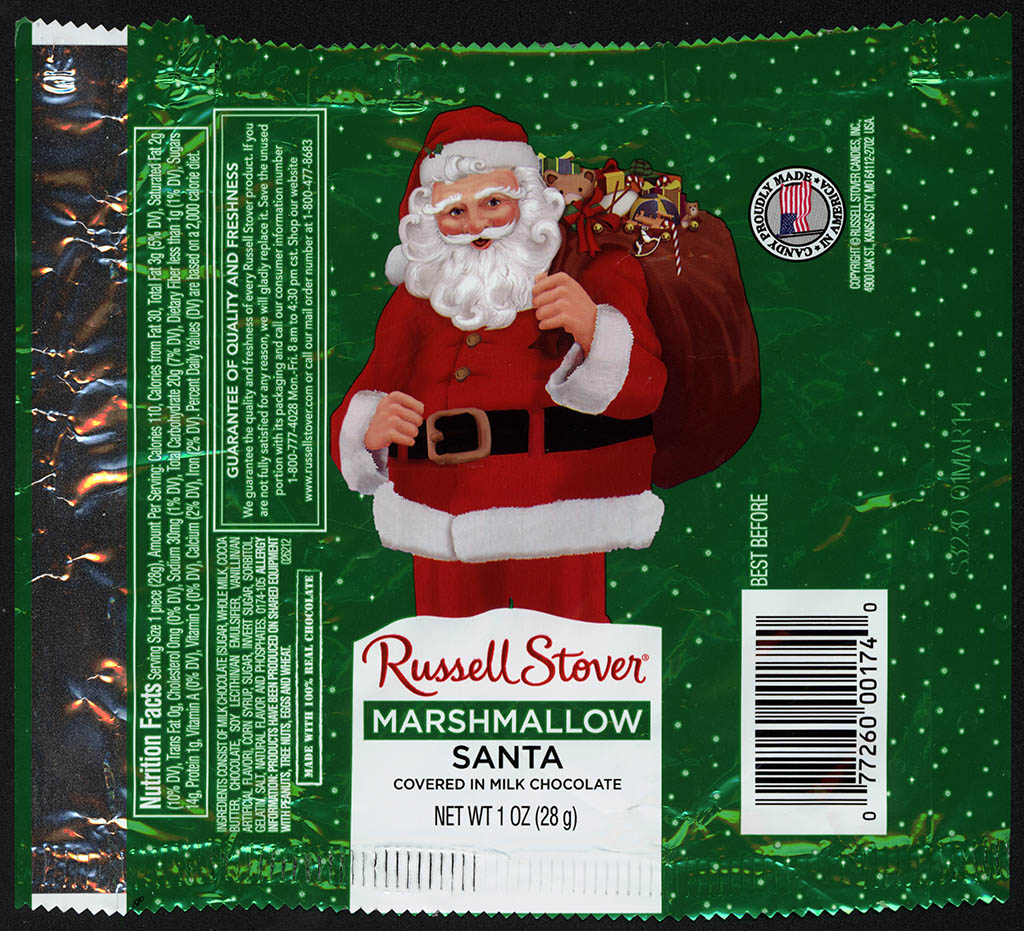 Russell Stover - Santa - Marshmallow - foil Christmas candy wrapper - 2013