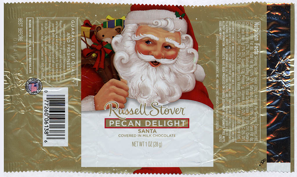 Russell Stover - Santa - Pecan Delight - foil Christmas candy wrapper - 2013