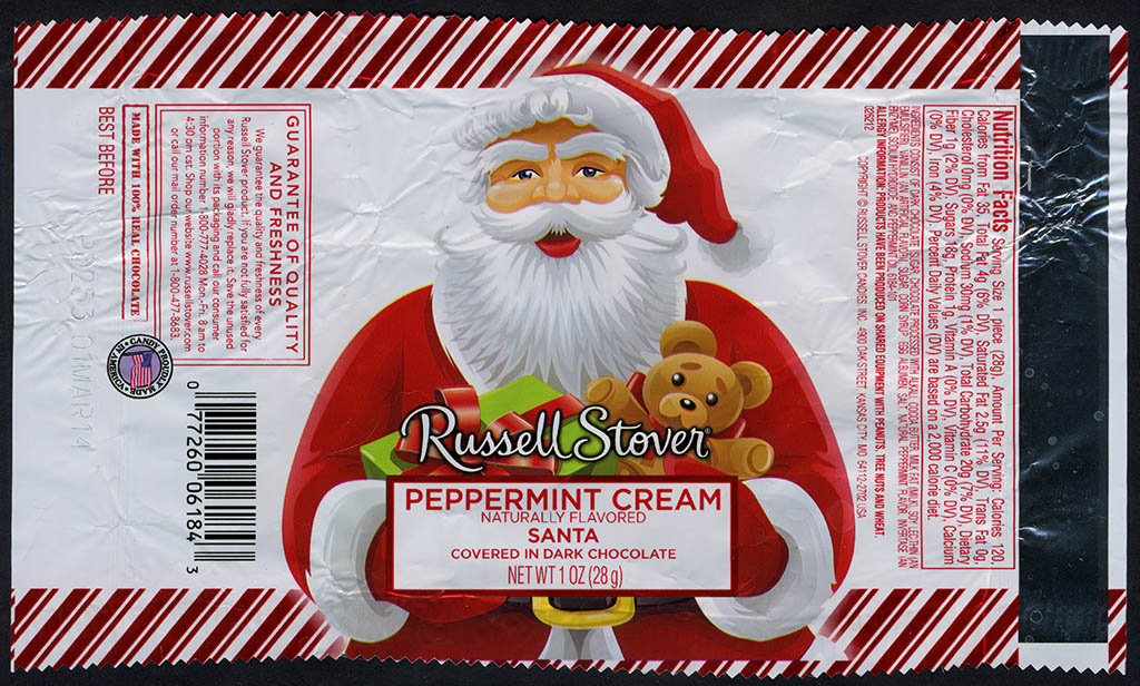 Russell Stover - Santa - Peppermint Cream - foil Christmas candy wrapper - 2013