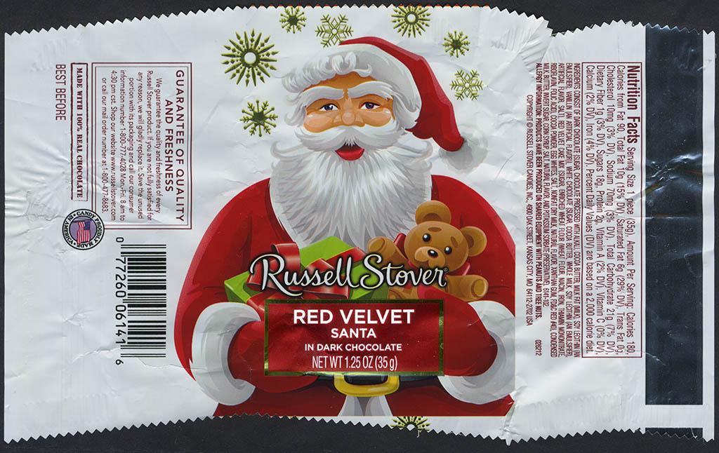 Russell Stover - Santa - Red Velvet - foil Christmas candy wrapper - 2013